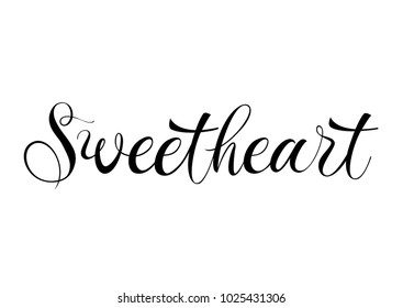 Sweetheart lettering in black color