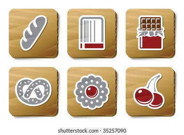 Sweeties and Bakery icons. Vector icon set. Three color icons on cardboard tags.