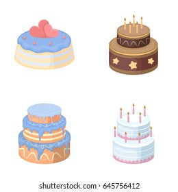 Sweetness, dessert, cream, treacle. Cakes country set collection icons in cartoon style vector symbol stock illustration web.