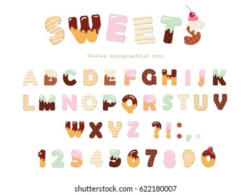 Sweets bakery font design. Funny latin alphabet letters and numbers made of ice cream, chocolate, cookies, candies. For kids birthday anniversary or baby shower decoration.