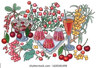 Sweets, berries, fruits, drinks hand drawn vector doodles illustration. Nature and food elements and objects cartoon background. Bright colors funny picture