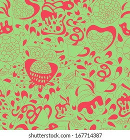 Sweets, birds , cake and tea continuous seamless pattern. Abstract background with abstract objects with flowers , owls. Seamless pattern can be used for web page backgrounds,  wallpapers ,pattern.