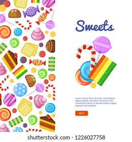 Sweets brochure cover. Biscuits cakes chocolate and caramel candies wrapped and colored vector design template with place for your text