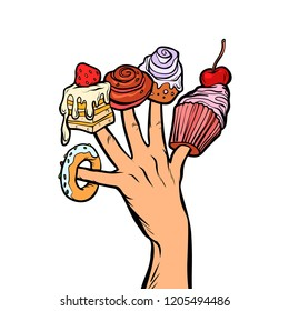 sweets cake cupcake donut marshmallow on fingers. Pop art retro vector illustration vintage kitsch