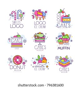 Sweets, cakes, ice cream logos set, confectionery and bakery products vector Illustrations