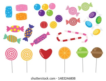Sweets and candies icon vector set on white background