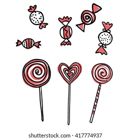 Sweets and candles, lollies, lollipops line drawings. Vector illustration. Candy store.