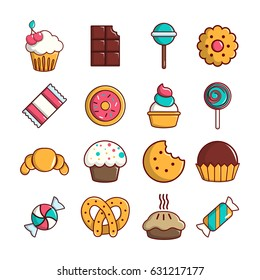 Sweets candy cakes icons set. Cartoon illustration of 16 sweets candy cakes vector icons for web