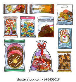 Sweets, candy and cakes in plastic bags and packages. Vector illustration.