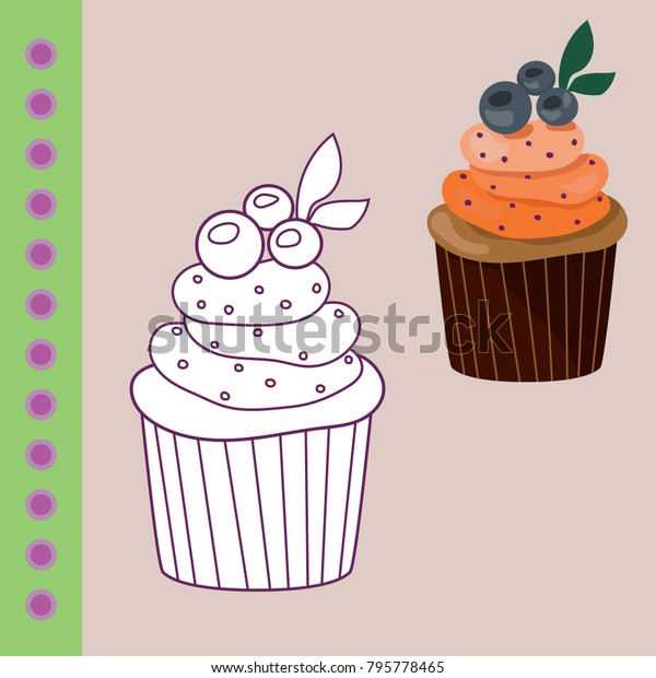 Sweets Coloring Page Childrendonat Cake Cupcake Food And Drink