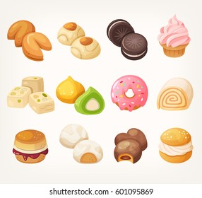 Sweets and cookies for tea from all over the world. Dessert food in vector.
