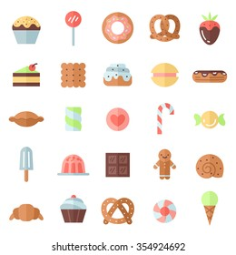 Sweets flat multicolored icons vector set. Modern minimalistic design.