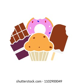 Sweets glyph color icon. Confectionery. Chocolate bar, doughnut, muffin with raisins, ice cream. Silhouette symbol on white background with no outline. Negative space. Vector illustration