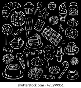 Sweets hand drawn doodle elements. Vector illustration