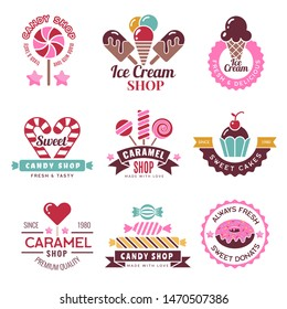 Sweets logo. Badges for candy shop confectionery company lollipop cakes and donuts vector collection. Illustration of confectionery emblem and logo, badge company candy