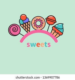 Sweets logo. Lollipop, cupcake, ice cream, donut, candy icons, store goodies logo. Vector illustration isolated