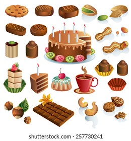 Sweets and nuts vector