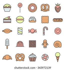 Sweets outline multicolored icons vector set. Modern minimalistic design.