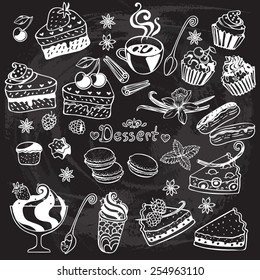 Sweets and pastry set. Tart, macaroon, icecream, cookie, cake, spices  isolated vector illustration.