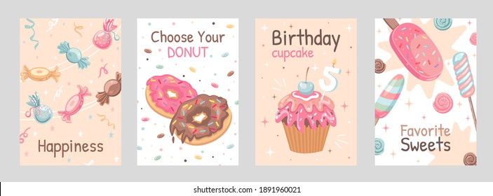 Sweets posters set. Candies, donuts, ice cream, cupcake vector illustrations with text. Food and dessert concept for flyers and brochures design - Shutterstock ID 1891960021