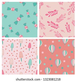 Sweets seamles pattern design set