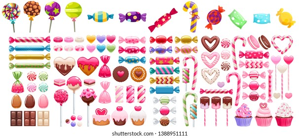 Sweets set - marshmallow, hard candy, dragee, cake pop, jelly, peppermint candy, chocolate cookies, cupcakes vector illustration