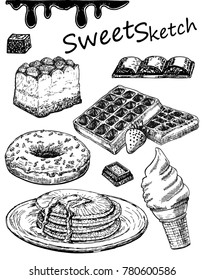 Sweets sketch. Chocolate, ice cream, cake, pancakes, donut.