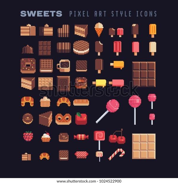 Image Vectorielle De Stock De Icone Pixel Art Sucre Et Savoureux 1024522900