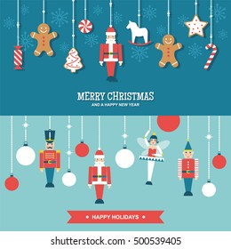 Sweets and toys christmas ornaments flat vector banners/illustrations set