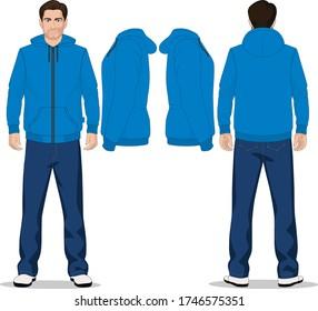 swetshirt Blank sweatshirt mock up, front, side and back view. Plain gray hoodie mockup. Male model wearing hoody sweatshirt, design presentation. Jumper for print. Blank clothes sweat shirt sweater