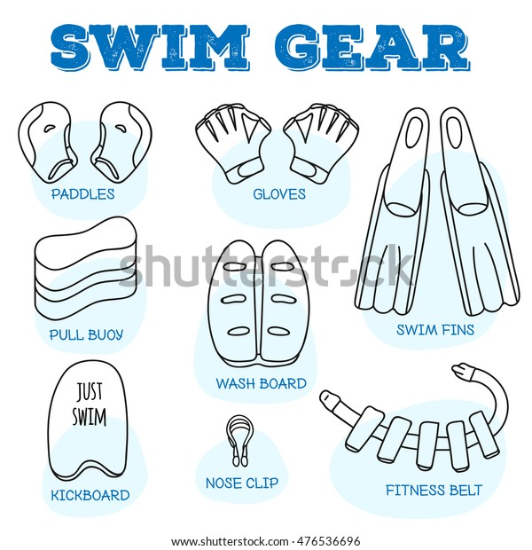 Swim Gear Line Doodle Style Icons | Signs/Symbols, Sports ...