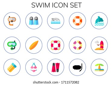 swim icon set. 15 flat swim icons. Included snorkel, fins, surf, shark, lifesaver, dolphin, surfboard, air mattress, bikini, flippers, swimming pool icons