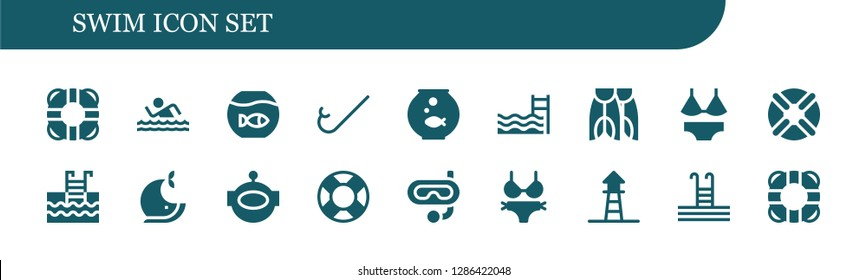 swim icon set. 18 filled swim icons. Simple modern icons about  - Lifesaver, Swim, Fishbowl, Snorkel, Swimming pool, Flippers, Swimsuit, Lifebuoy, Whale, Aqualung, Bikini, Lifeguard