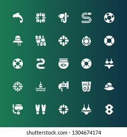 swim icon set. Collection of 25 filled swim icons included Floats, Bikini, Lifeguard, Fins, Scuba diving, Pamela, Flippers, Shark, Buoy, Lifebuoy, Fish bowl, Eel, Lifesaver, Flipper