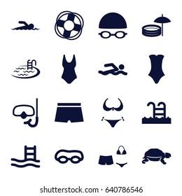 Swim icons set. set of 16 swim filled icons such as turtle, bikini, pool, swimsuit, swimming pool, swimming hat and glasses, snorkel, swimmer, man swim wear, lifebuoy