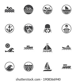 Swim related vector icons set, modern solid symbol collection, filled style pictogram pack. Signs, logo illustration. Set includes icons as swimming man, sailboat, shark fin, beach, sea water waves