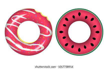 Swim rings icons.Rubber rings isolated on white background.Life buoys colorful realistic signs in the form of a bitten donut and watermelon Isolated on a white background