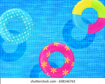 Swim rings on swimming pool water background. Inflatable rubber toy. Realistic summertime illustration. Pool party. Summer poster. Summer vacation or trip safety item. Top view swimming circles.