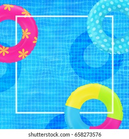 Swim rings on swimming pool water background. Frame for text. Inflatable rubber toy. Realistic summertime illustration. Summer vacation or trip concept. Top view swimming circle. Summer poster design.