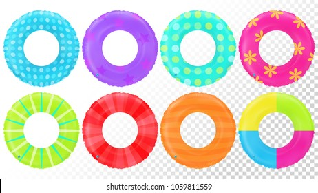 Swim rings set. Inflatable rubber toy. Lifebyou colorful collection. Swimming ring. Summertime illustration. Summer vacation or trip safety item. Tropic. Top view swimming circle for ocean, sea, pool.