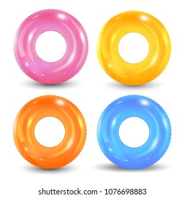 Swim rings set. Inflatable rubber toy. Lifebuoy colorful vector collection. Summer. Realistic summertime illustration. Summer vacation or trip safety. Top view swimming circle for ocean, sea, pool.