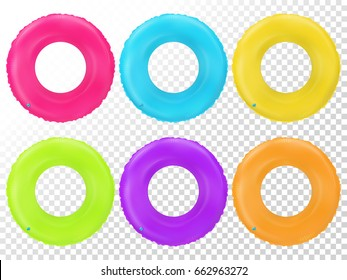 Swim rings set. Inflatable rubber toy. Colorful vector collection. Realistic summertime illustration. Summer vacation or trip safety item. Top view swiming circle for ocean, sea, pool.