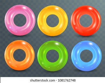 Swim rings set on transparent background. Inflatable rubber toy. Lifebuoy colorful vector collection. Summer. Realistic summertime illustration. Summer vacation or trip safety.
