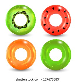 Swim rings set on white background. Inflatable rubber toy. Lifebuoy colorful vector collection. Summer. Realistic summertime illustration. Summer vacation or trip safety.
