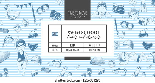 Swim school horizontal banner with kids swimming. Vector illustration