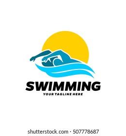 Swim, Swimming Club, Swimmer logo design template