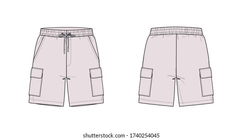 Swim trunks with cargo pockets, flat sketch, front & back views
