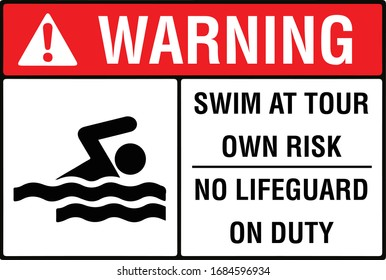 Swim at your own risk no lifeguard on duty