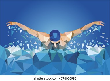 Swimmer. Abstract illustration.
