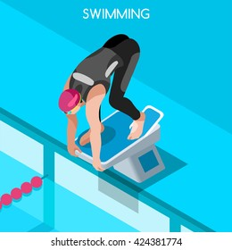 Swimmer athlete start position pedestal Sportsman Icon 3D Sport Flat Isometric Swimming Freestyle. Breaststroke Backstroke Sport Competition Race Infographic events Swimming people Vector Collection